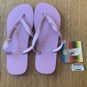 Havaianas, 37-38, purple, wide strap w/jewels, new